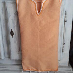 Robe traditionnelle tunisienne bébé fille taille 6 mois couleur pêche tissu 100% coton